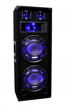 "Fenton BS28 Black PA Speaker 2x 8"" LED 600W"