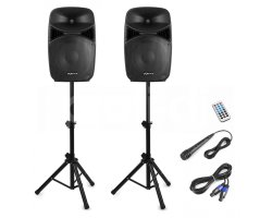 Vonyx VPS152A Plug & Play 1000W Speaker SET With Stands (B-Stock)